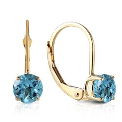 Genuine 1.2 ctw Blue Topaz Earrings Jewelry 14KT Yellow Gold - GG#1928 - REF#23Y2F