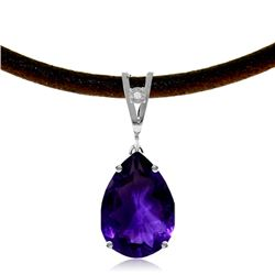 Genuine 6.01 ctw Amethyst & Diamond Necklace Jewelry 14KT White Gold - GG#4122 - REF#32X3M