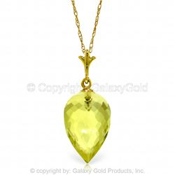 Genuine 9 ctw Quartz Lemon Necklace Jewelry 14KT Yellow Gold - GG#4660 - REF#18P2H