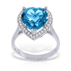 Genuine 6.44 ctw Blue Topaz & Diamond Ring Jewelry 14KT White Gold - GG#4876 - REF#69M6T