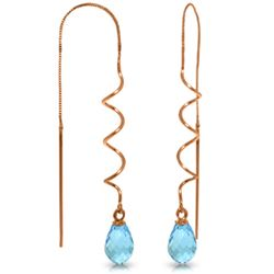 Genuine 3.3 ctw Blue Topaz Earrings Jewelry 14KT Rose Gold - GG#3944 - REF#18X3M