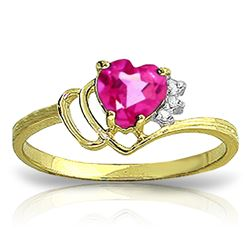 Genuine 0.97 ctw Pink Topaz & Diamond Ring Jewelry 14KT Yellow Gold - GG#2559 - REF#30W3Y
