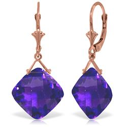 Genuine 17.5 ctw Amethyst Earrings Jewelry 14KT Rose Gold - GG#3859 - REF#39R3P
