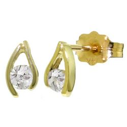 Genuine 0.20 ctw Diamond Anniversary Earrings Jewelry 14KT Yellow Gold - GG#4246 - REF#41P2H