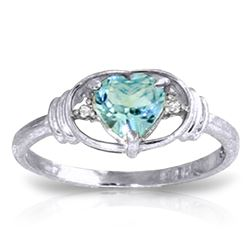 Genuine 0.96 ctw Blue Topaz & Diamond Ring Jewelry 14KT White Gold - GG#1207 - REF#40H3X