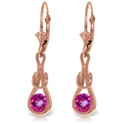 Genuine 1.3 ctw Pink Topaz Earrings Jewelry 14KT Rose Gold - GG#4226 - REF#49H3X
