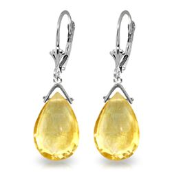 Genuine 10.2 ctw Citrine Earrings Jewelry 14KT White Gold - GG#2208 - REF#28F9Z