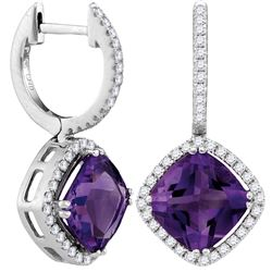 1.97 CTW Amethyst & Diamond Earrings 14KT White Gold - GD104998-REF#124H3W