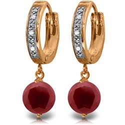 Genuine 4.03 ctw Ruby & Diamond Earrings Jewelry 14KT Rose Gold - GG#4348 - REF#76N6R