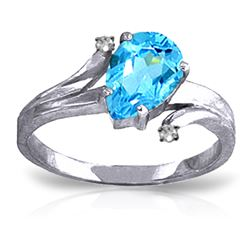 Genuine 1.51 ctw Blue Topaz & Diamond Ring Jewelry 14KT White Gold - GG#1254 - REF#51A4K