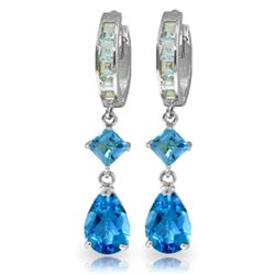 Genuine 5.62 ctw Blue Topaz Earrings Jewelry 14KT White Gold - GG#1496 - REF#62M2T