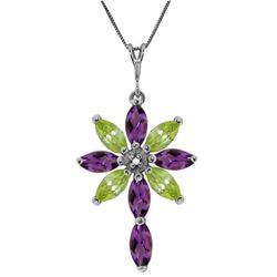 Genuine 2.0 ctw Amethyst, Peridot & Diamond Necklace Jewelry 14KT White Gold - GG#2238 - REF#47V4W