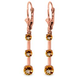 Genuine 2.5 ctw Citrine Earrings Jewelry 14KT Rose Gold - GG#2073 - REF#39P3H