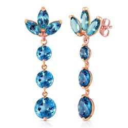 Genuine 8.7 ctw Blue Topaz Earrings Jewelry 14KT Rose Gold - GG#2719 - REF#53T6A