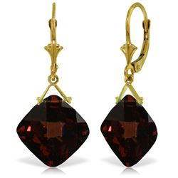 Genuine 17.5 ctw Garnet Earrings Jewelry 14KT Yellow Gold - GG#3865 - REF#50N2R