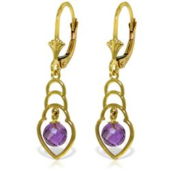Genuine 1.25 ctw Amethyst Earrings Jewelry 14KT Yellow Gold - GG#4140 - REF#25V6W