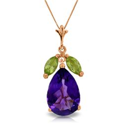 Genuine 6.5 ctw Amethyst & Peridot Necklace Jewelry 14KT Rose Gold - GG#1973 - REF#38Z2N