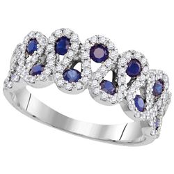 1.25 CTW Sapphire & Diamond Ladies Ring 10KT White Gold - GD109996-REF#71K9R