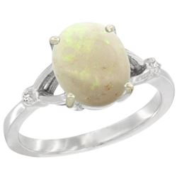 Natural 1.42 ctw Opal & Diamond Engagement Ring 14K White Gold - SC#CW420112 - REF#29Z2W