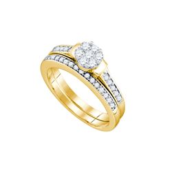 0.5 CTW Diamond Bridal Set Ring 10KT Yellow Gold - GD74338-REF#62A9X