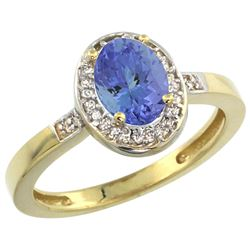 Natural 0.85 ctw Tanzanite & Diamond Engagement Ring 14K Yellow Gold - SC#CY448150 - REF#29K8M