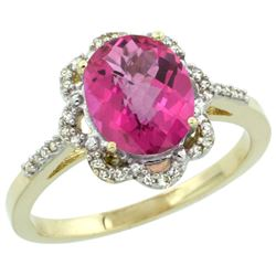 Natural 1.85 ctw Pink-topaz & Diamond Engagement Ring 14K Yellow Gold - SC#CY406105 - REF#33M6P
