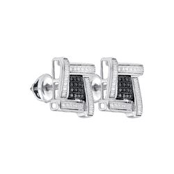 0.03 CTW White & Black Diamond Earrings White Rhodium Silver - GD82588-REF#3K6R
