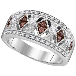 0.33 CTW White & Cognac Diamond Ladies Ring 10KT White Gold - GD105797-REF#53F9N