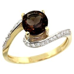 Natural 1.24 ctw smoky-topaz & Diamond Engagement Ring 10K Yellow Gold - SC#10D312723Y07 - REF#37V3T