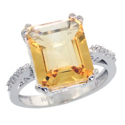 Natural 5.48 ctw Citrine & Diamond Engagement Ring 14K White Gold - SC#CW409141 - REF#44F7V