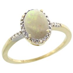 Natural 0.73 ctw Opal & Diamond Engagement Ring 14K Yellow Gold - SC#CY420113 - REF#19Y9K