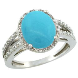 Natural 3.47 ctw Turquoise & Diamond Engagement Ring 10K White Gold - SC#CW918106 - REF#38Z4W