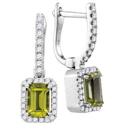 0.83 CTW Peridot & Diamond Earrings 14KT White Gold - GD105034-REF#90F2N