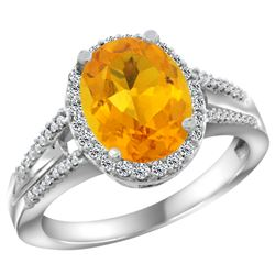 Natural 2.72 ctw citrine & Diamond Engagement Ring 10K White Gold - SC#CW909174 - REF#39R2F