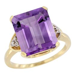 Natural 5.44 ctw amethyst & Diamond Engagement Ring 14K Yellow Gold - SC#CY401177 - REF#39Z6W