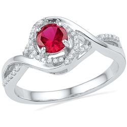 0.92 CTW Ruby & Diamond Ladies Ring 10KT White Gold - GD100200-REF#30Z4T
