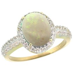 Natural 2.56 ctw Opal & Diamond Engagement Ring 10K Yellow Gold - SC#CY920138 - REF#28Y2K