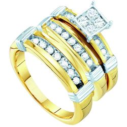 0.62 CTW Diamond Trio Set Ring 10KT Yellow Gold - GD56468-REF#80V9A