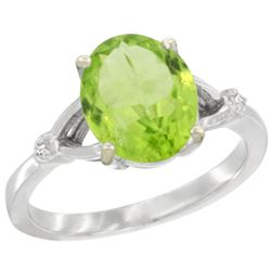 Natural 2.79 ctw Peridot & Diamond Engagement Ring 10K White Gold - SC#CW911112 - REF#25N5Y