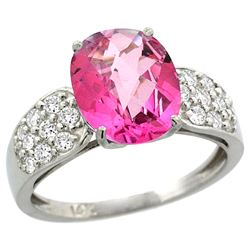 Natural 2.75 ctw pink-topaz & Diamond Engagement Ring 14K White Gold - SC#R289771W06 - REF#50P8Z