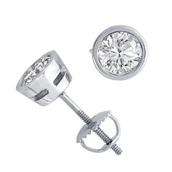 14K White Gold Jewelry 2.0 ctw Natural Diamond Stud Earrings - WJA1301 - REF#501X4Y