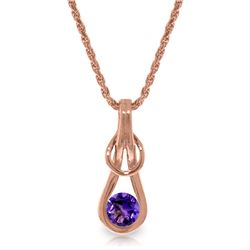 Genuine 0.65 ctw Amethyst Necklace Jewelry 14KT Rose Gold - GG#4234 - REF#73Z7N
