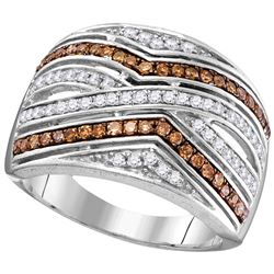 0.5 CTW White & Cognac Diamond Ladies Ring 10KT White Gold - GD104452-REF#45A2X