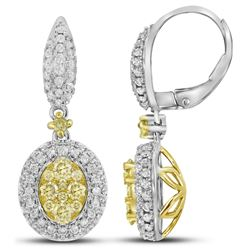 1.33 CTW White & Yellow Diamond Earrings 14KT Two-tone Gold - GD109405-REF#198F2N