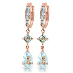 Genuine 5.62 ctw Aquamarine Earrings Jewelry 14KT Rose Gold - GG#1652 - REF#76F2Z