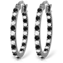 Genuine 0.81 ctw White & Black Diamond Earrings Jewelry 14KT White Gold - GG#5230 - REF#116R6P