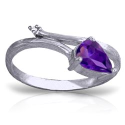 Genuine 0.83 ctw Amethyst & Diamond Ring Jewelry 14KT White Gold - GG#1224 - REF#40H5X