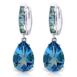 Genuine 13.2 ctw Blue Topaz Earrings Jewelry 14KT White Gold - GG#2542 - REF#68K7V