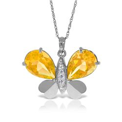 Genuine 7.1 ctw Citrine & Diamond Necklace Jewelry 14KT White Gold - GG#5496 - REF#126R5P