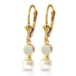 Genuine 5.17 ctw Opal & Pearl Earrings Jewelry 14KT Yellow Gold - GG#2188 - REF#36R5P